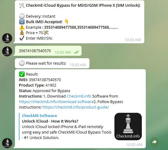 CheckM8 Telegram bot order services approved
