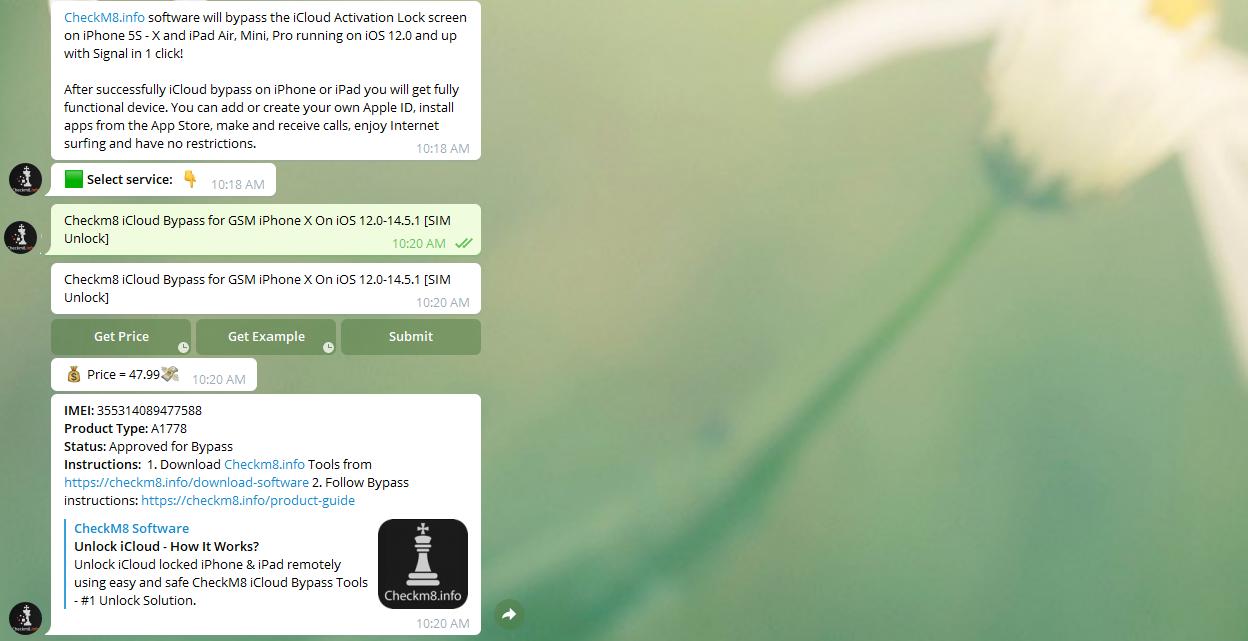 CheckM8 Telegram bot categories order services information